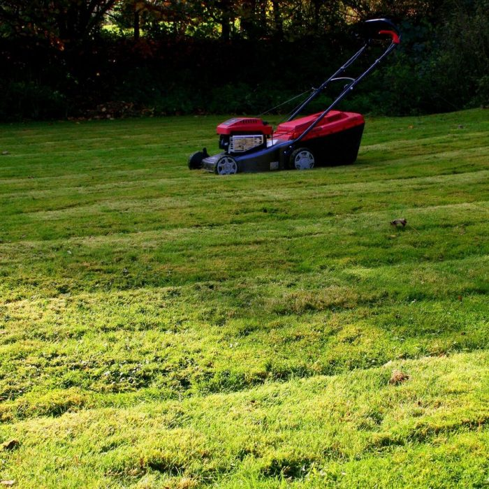 hand push red lawn mower cutting a customers grass